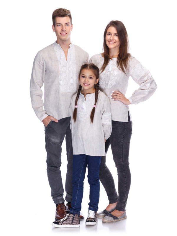 Вышиванки для всей семьи беж/белый