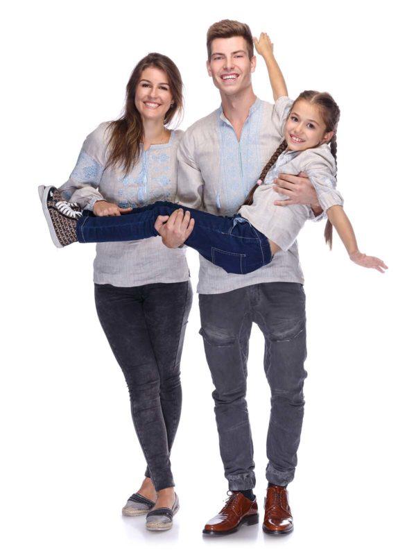 Вышиванки для всей семьи беж/голубой
