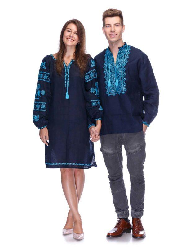 Вышиванки для всей семьи темно-синий