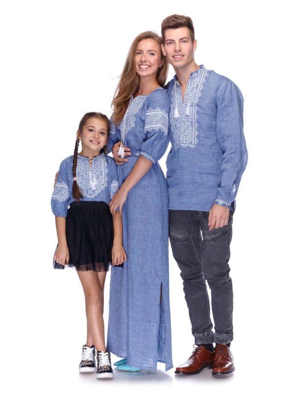 Вышиванки для всей семьи джинс