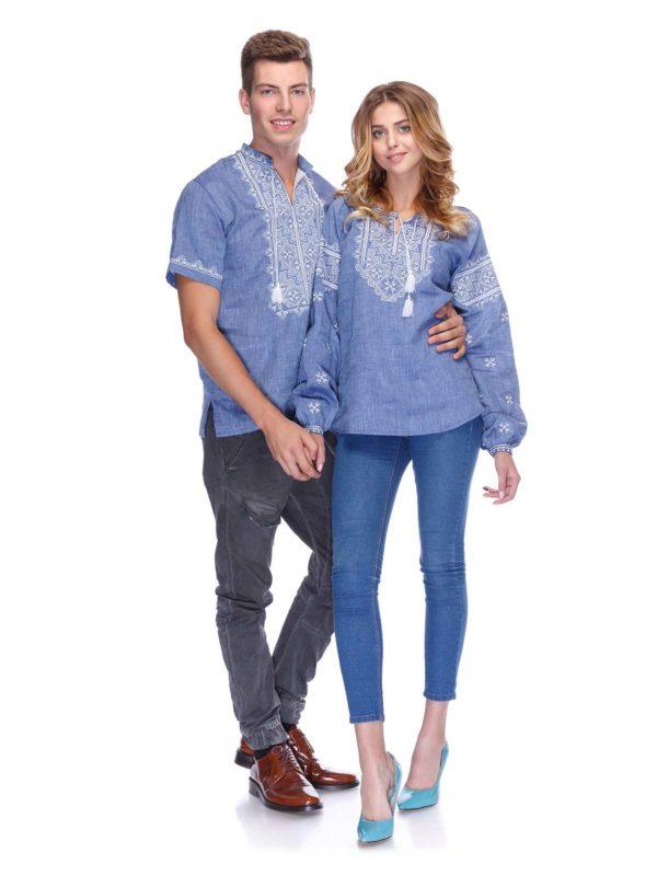 Вышиванки для всей семьи джинс пара