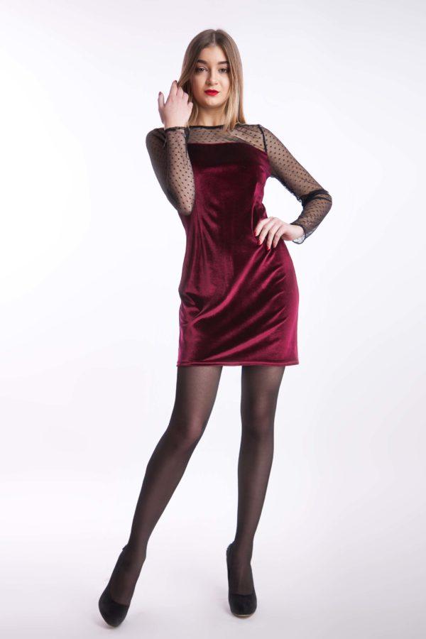 Вечірня сукня бордо оксамит