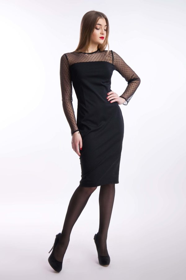 Вечерня сукня чорна міді джерсі