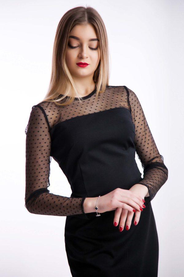 Вечернее платье черный трикотаж миди