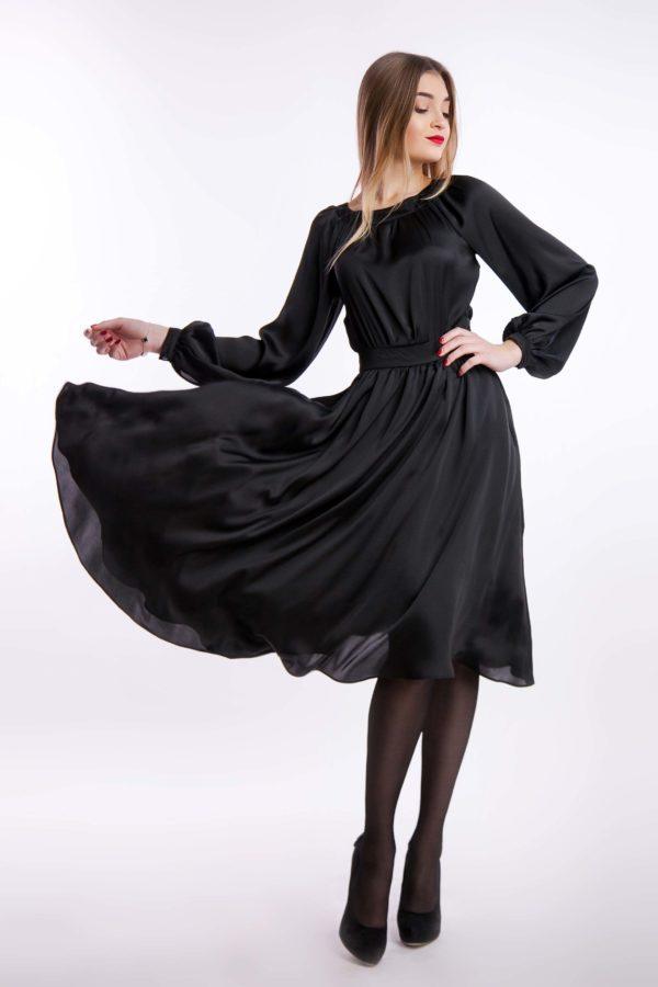Вечірня чорна сукня шовк