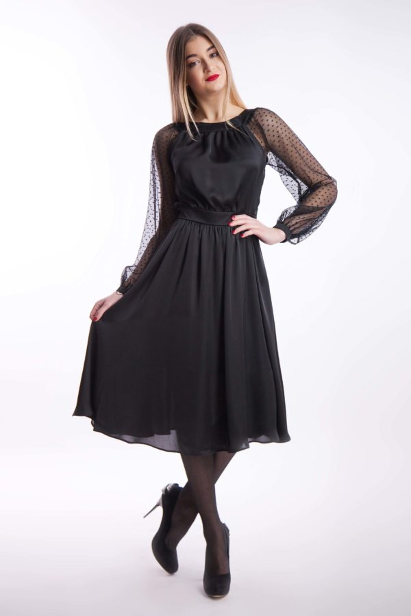 Вечернее платье черное шелк миди