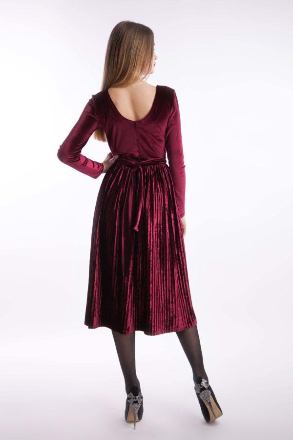 Вечернее платье бордо бархат миди