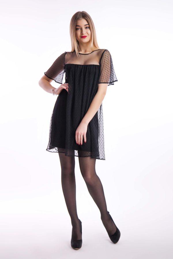 Вечірня сукня чорна коротка сітка