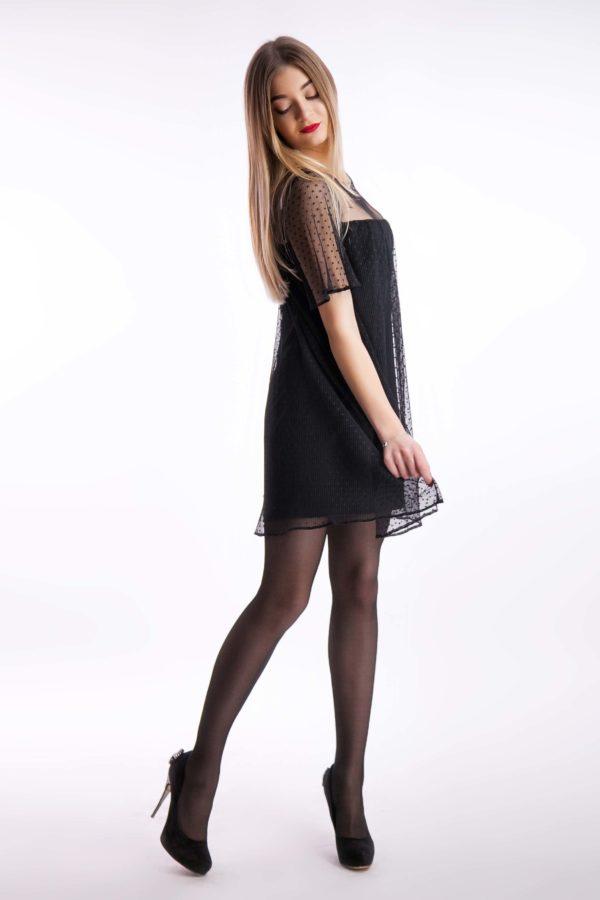 Вечернее платье черное короткое сетка