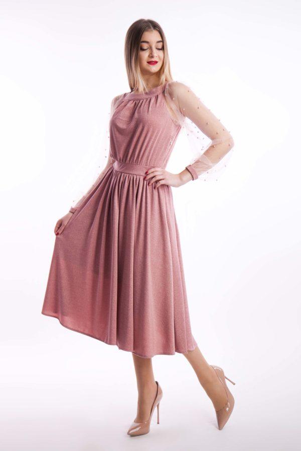 вечірня сукня пудра намистинка