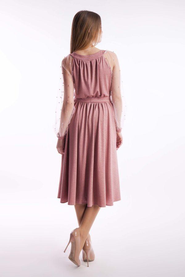 Вечернее платье пудра миди