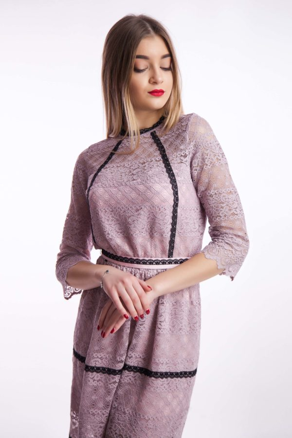 Вечернее платье пудра кружево