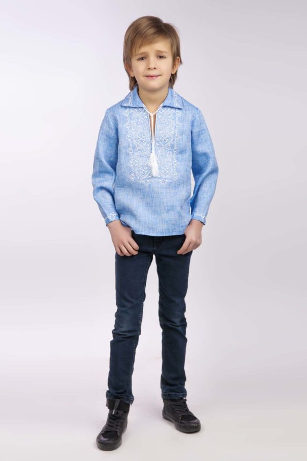 Вышиванка для мальчика с воротом светлый джинс