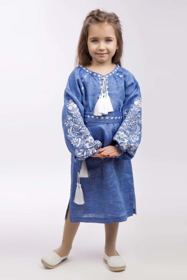 Платье с вышивкой для девочки Дерево жизни джинс