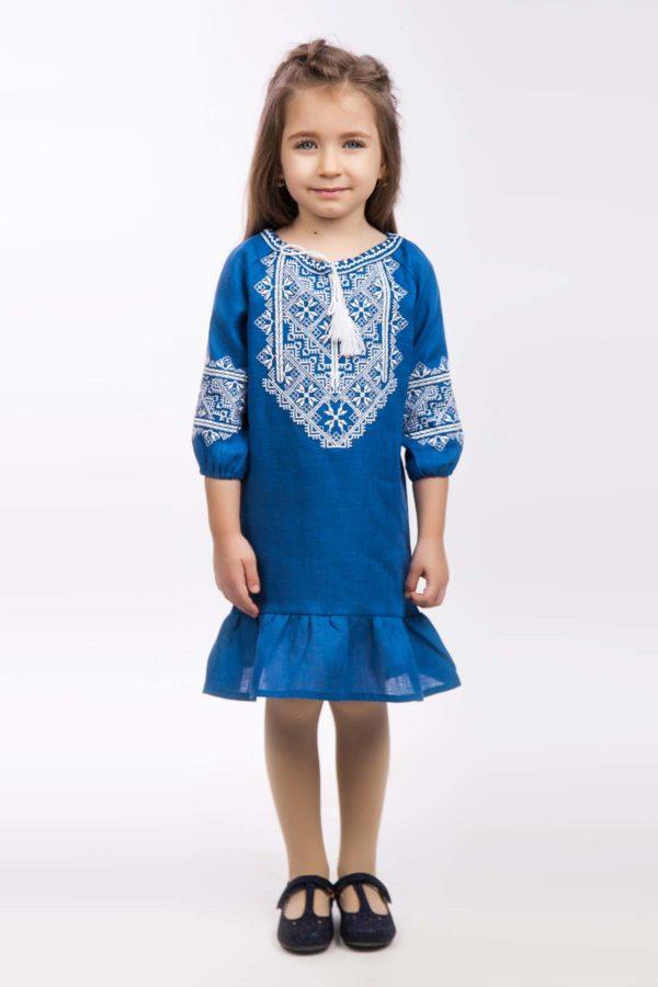 Платье с вышивкой для девочки Твори мир индиго