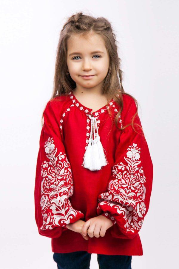 Вышиванка для девочки Дерево жизни красная