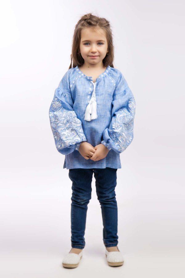 Вышиванка для девочки Дерево жизни светлый джинс