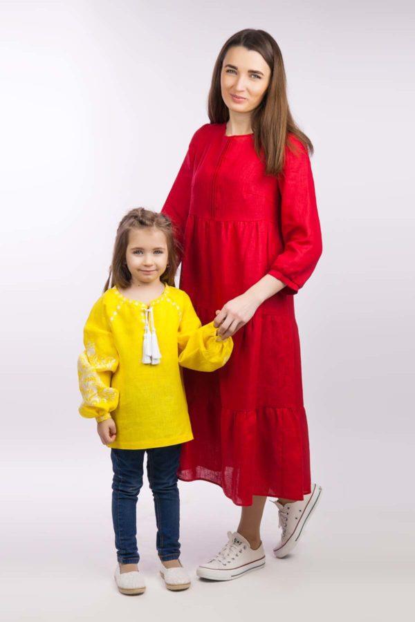 Вышиванка для девочки Дерево жизни желтый