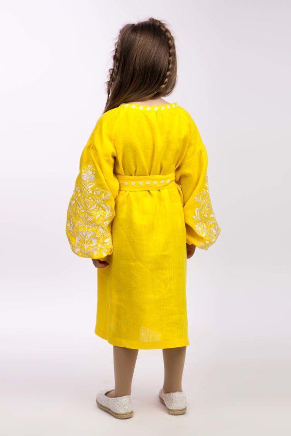 Платье с вышивкой для девочки Дерево жизни желтый