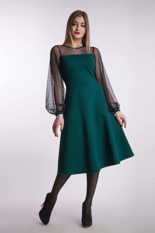 Вечірня сукня міді, смарагд