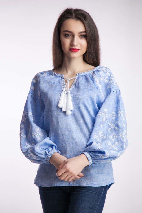 Женская вышиванка Цветок папороти  светлый ждинс