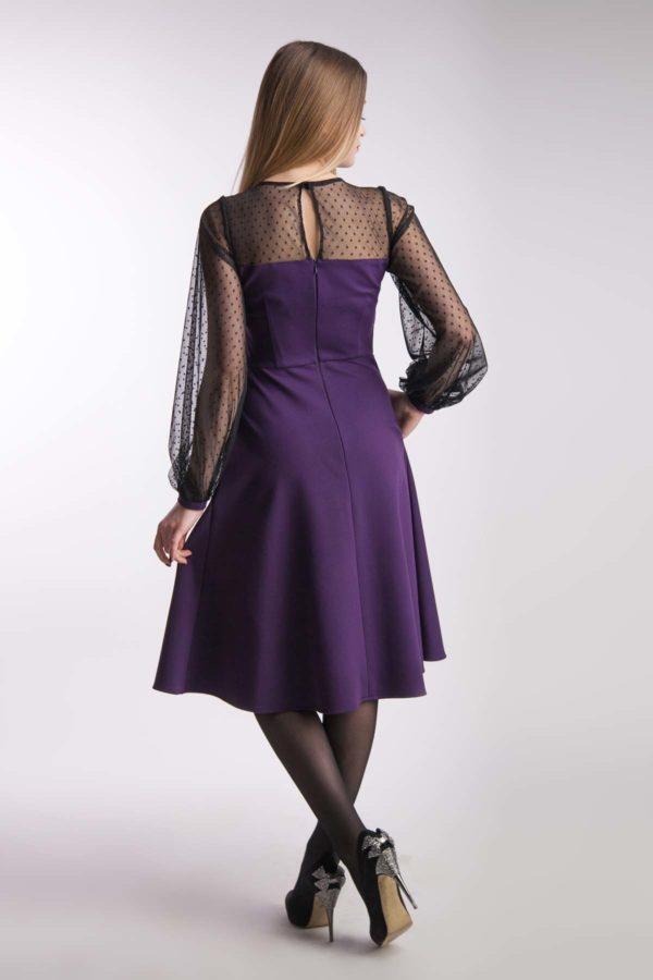 Вечернее платье баклажан сетка