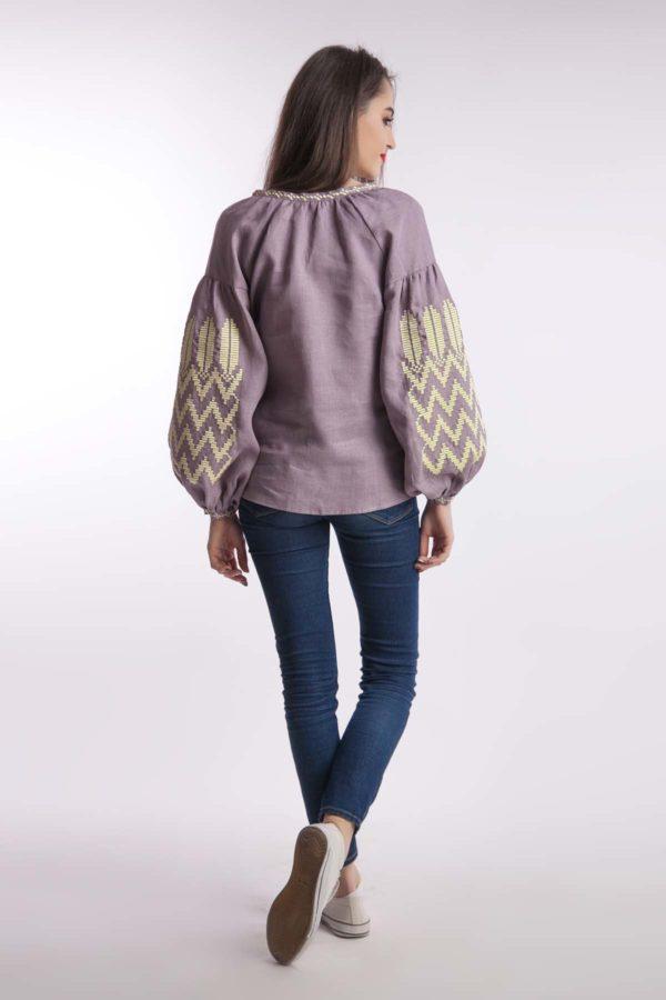 Женская вышиванка Геометрическая гладь лиловый