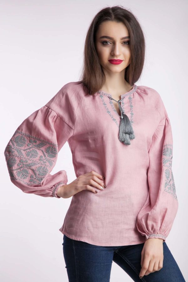 Женская вышиванка Ломаная ветка пудра
