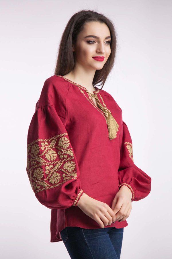 Женская вышиванка Ломаная ветка бордо
