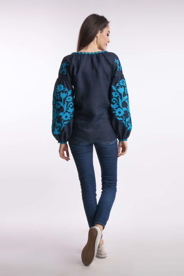 Женская вышиванка Осеннее вдохновение темно-синий