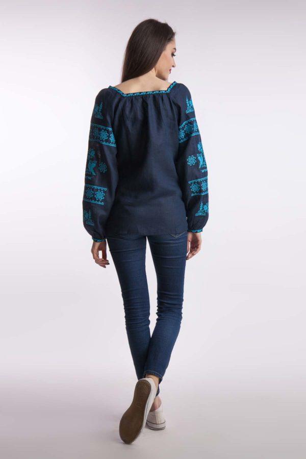 Женская вышиванка Чудесная птица темно-синий бирюза вышивка