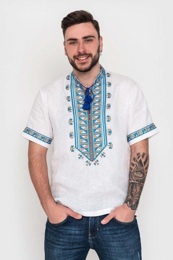 Чоловіча вишиванка з коротким рукавом з льону