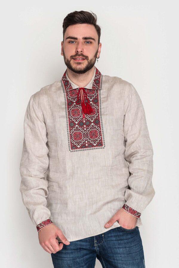 Чоловіча вишиванка з бежевого льону
