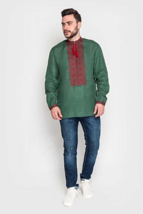 Чоловіча вишиванка з зеленого льону