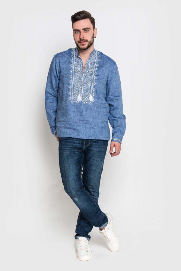 Чоловіча вишиванка з джинсового льону