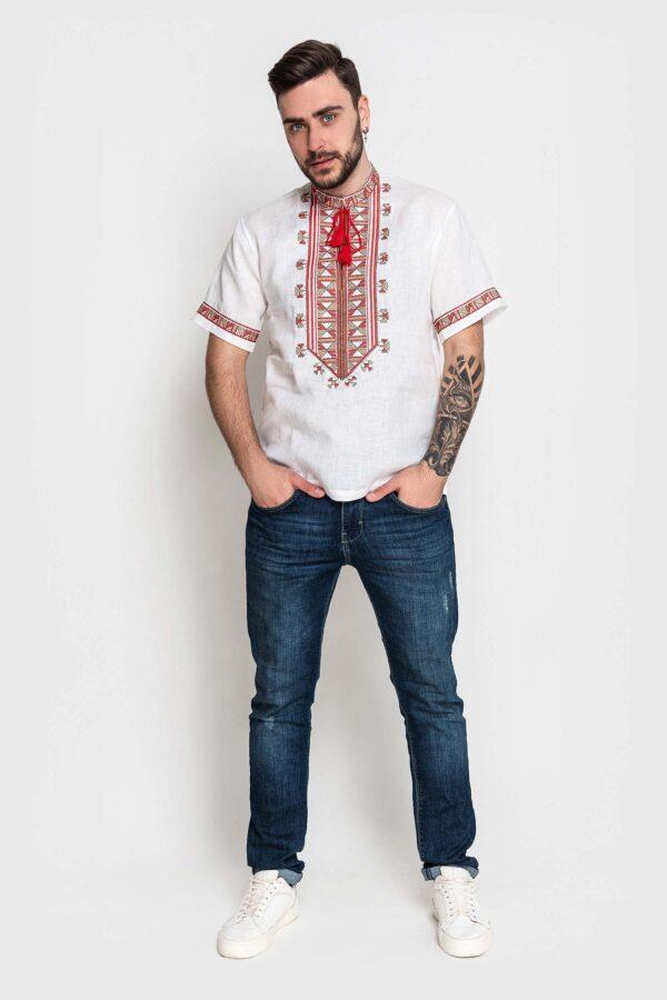 Чоловіча вишиванка з льону з коротким рукавом